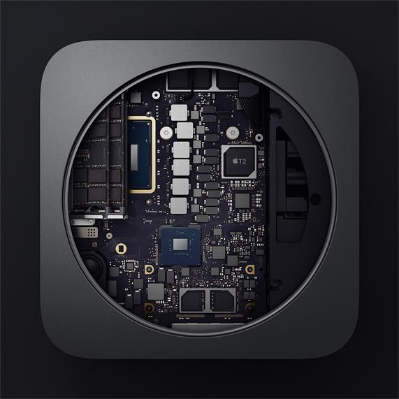 全新 Mac mini 内部组件快照。