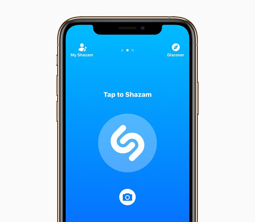 在 iPhone X 上轻点 Shazam 的界面。