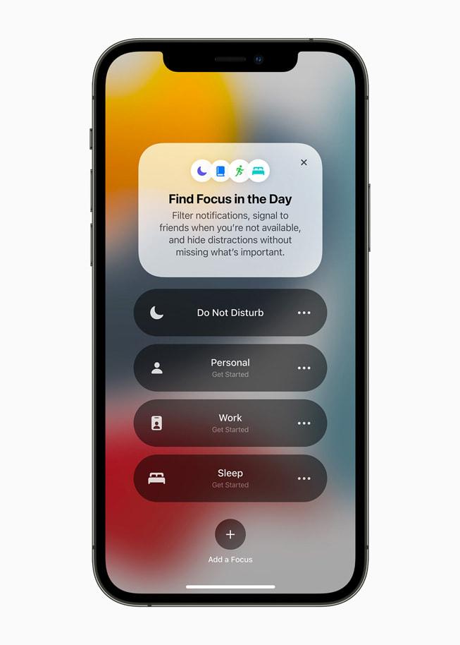 """iPhone 12 Pro 上展示""""专注""""类型列表。"""