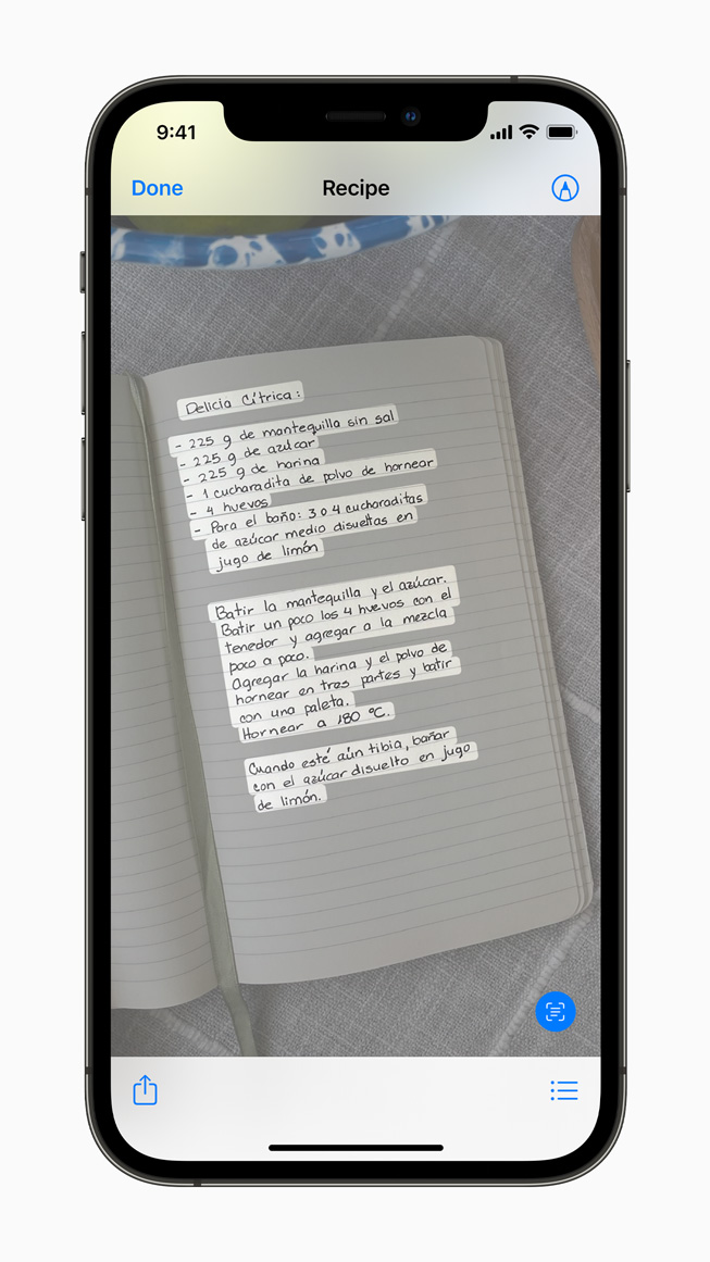 iPhone 12 Pro 上展示新实况文本功能的图片。