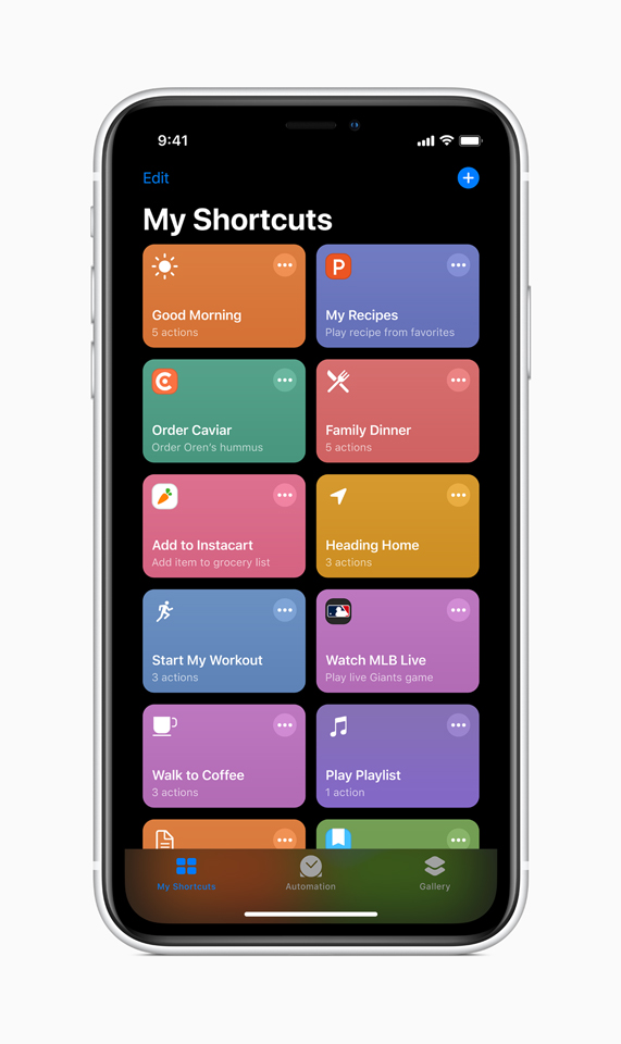 The My Shortcuts screen in iOS 13 displayed on iPhone.