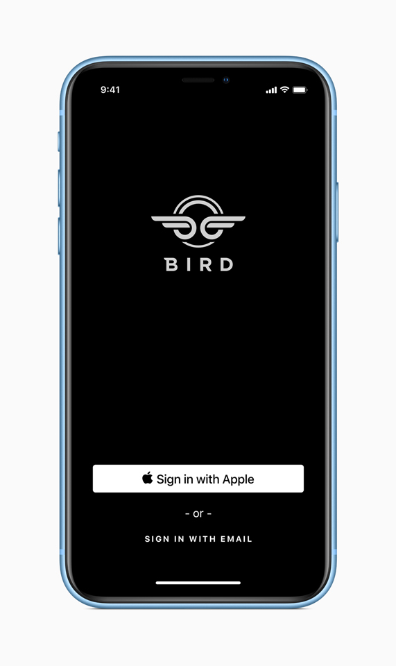 The iOS 13 sign-in screen for the Bird app on iPhone.