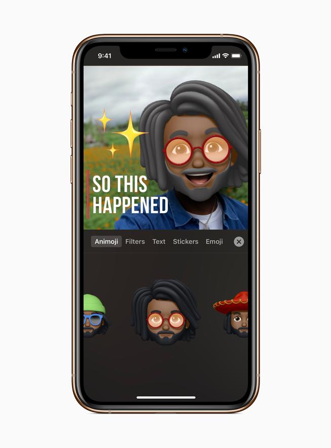 iPhone 11 Pro 可立拍中的男性拟我表情角色。