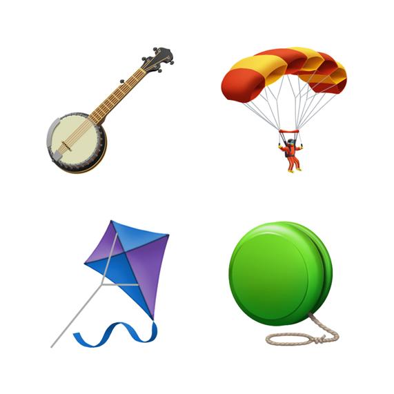 班卓琴、降落伞、风筝和溜溜球的表情符号。