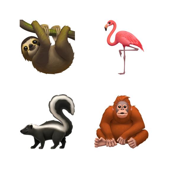 树懒、火烈鸟、臭鼬和红毛猩猩的表情符号。