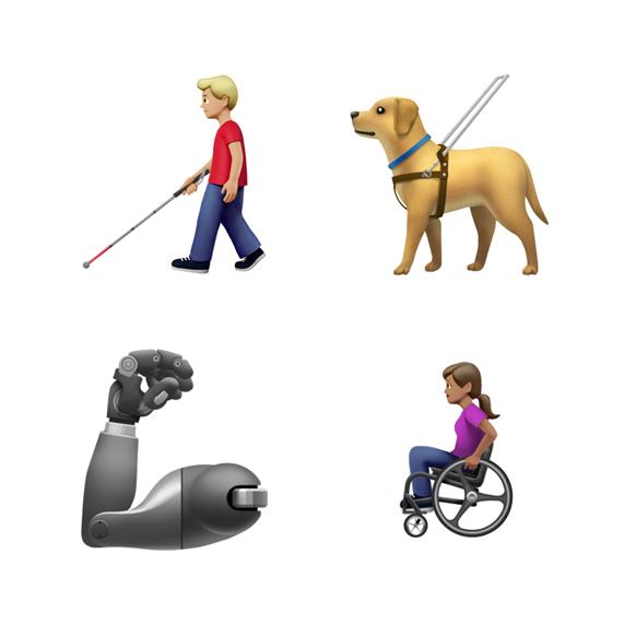 拿拐杖的男人、导盲犬、义肢手臂和坐轮椅的女人的表情符号。