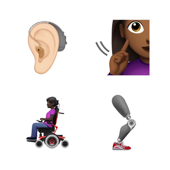 助听器、义肢腿和其他残障主题表情符号。