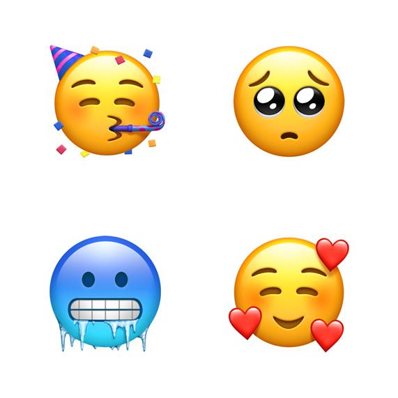 四款表情符号从左上方顺时针依次为:派对脸、恳求脸、带爱心的脸和寒冷脸。