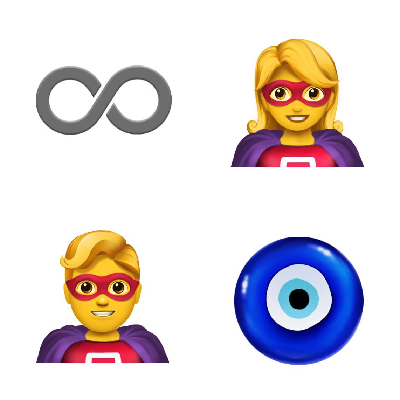 四款表情符号从左上方顺时针依次为:无限符号、女超级英雄、恶魔之眼护身符和男超级英雄。