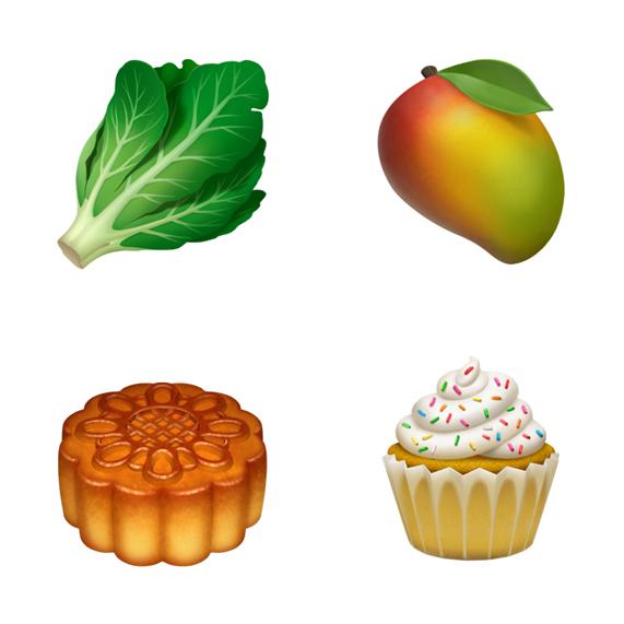 四款食物表情符号从左上方顺时针依次为:生菜、芒果、纸杯蛋糕和月饼。
