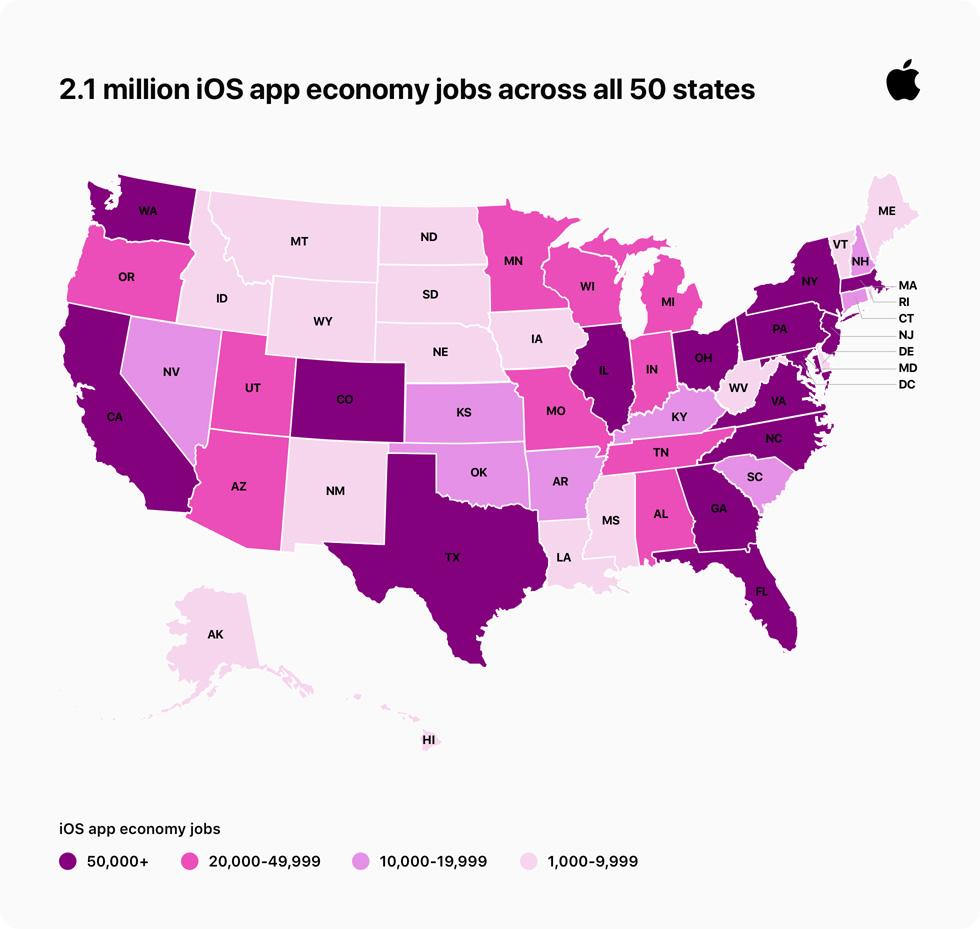 iOS app 经济带来的工作岗位在美国 50 个州的分布图。