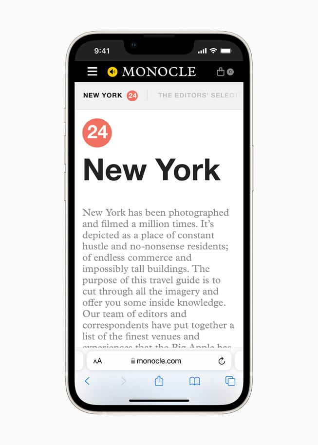星光色 iPhone 13 上展示 iOS 15 焕然一新的 Safari 浏览器。