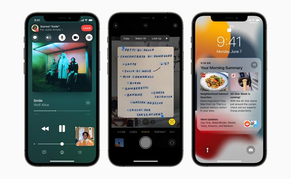三部 iPhone 12 Pro 设备展示新的同播共享、实况文本和通知摘要功能。