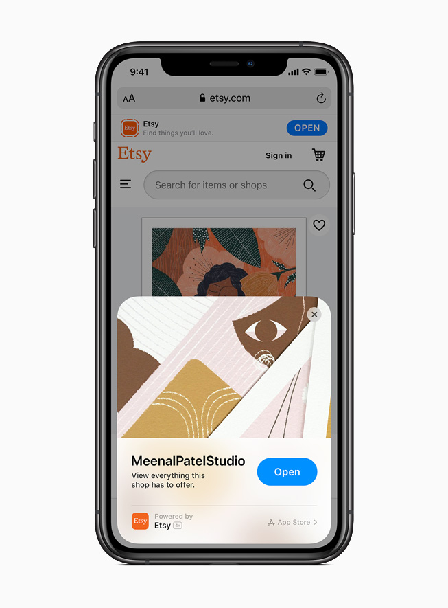 iPhone 11 Pro 上显示来自 Etsy app 的 App Clip。