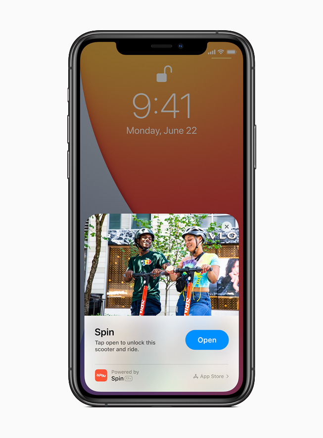 iPhone 11 Pro 上显示来自 Spin app 的 App Clip。