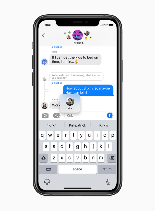 iPhone 11 Pro 上显示信息 app 中的引用回复。