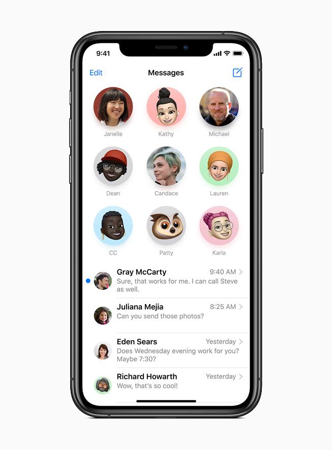 iPhone 11 Pro 上显示信息 app 中被置顶的对话。