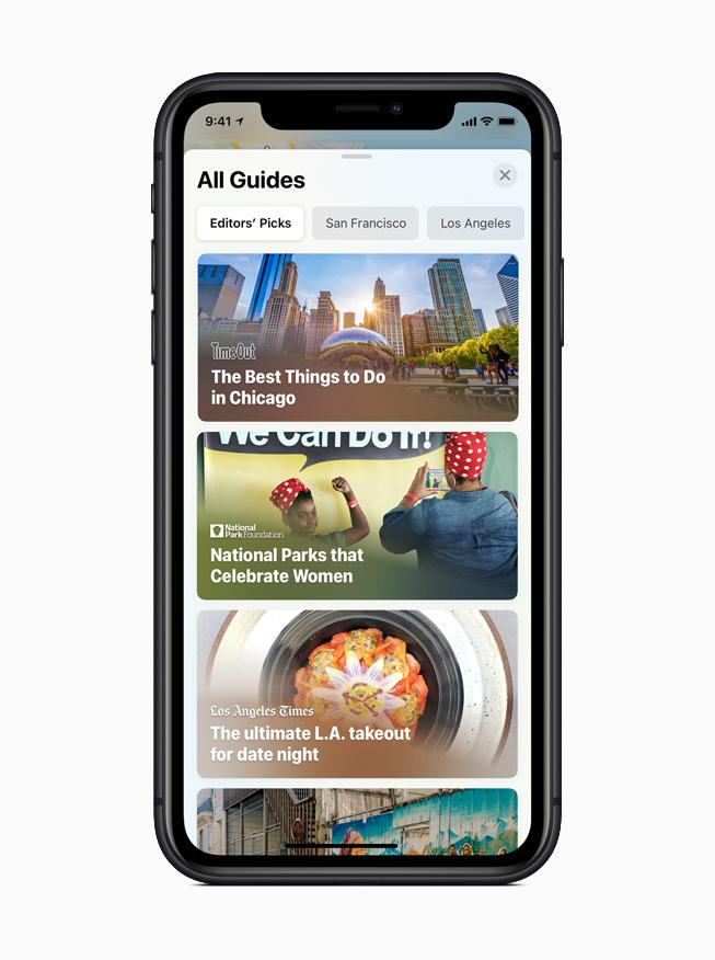 iOS 14 中地图 app 新增的城市指南功能。