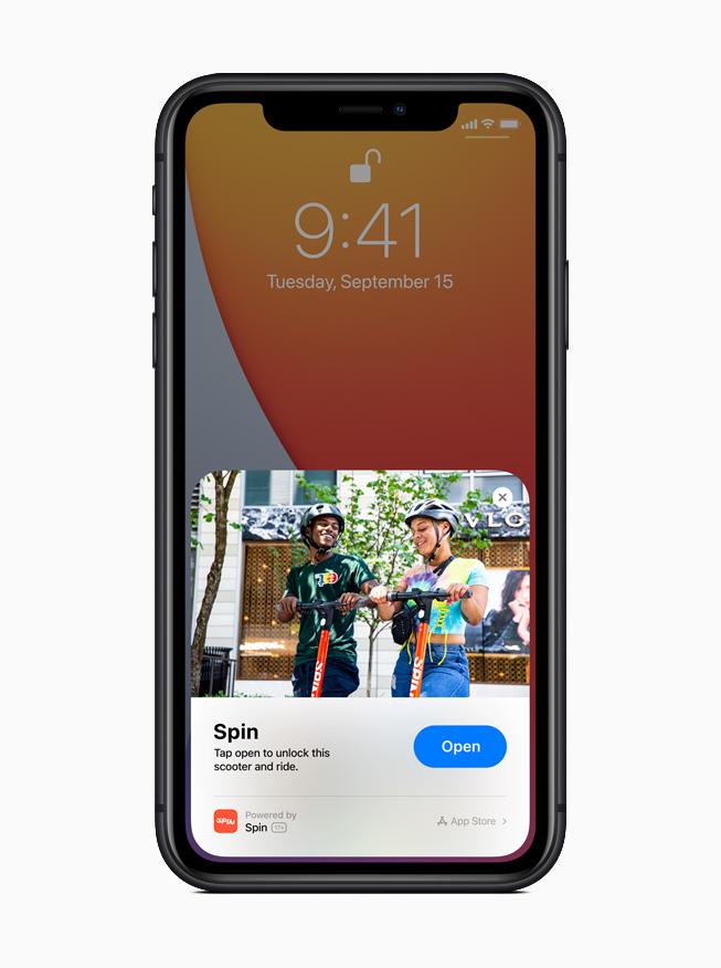 iPhone 11 Pro 展示 Spin app 的轻 App。