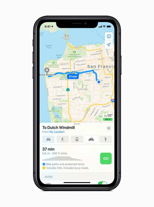 iOS 14 中地图 app 所规划的骑行路线。