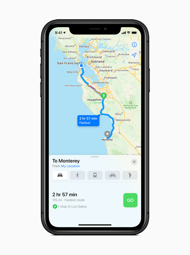 iOS 14 地图 app 所规划的电动汽车路线。