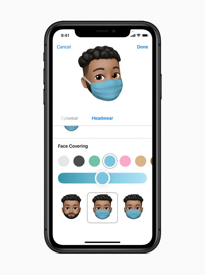 iPhone 11 Pro 上显示 iOS 14 信息 app 的全新拟我表情。