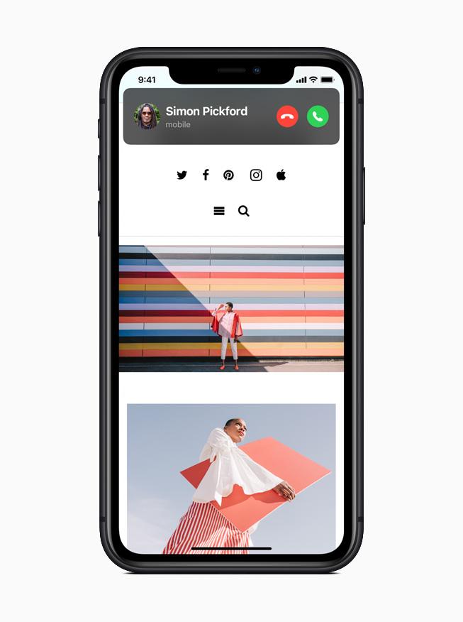 iPhone 11 Pro 屏幕上展示简洁的来电界面。