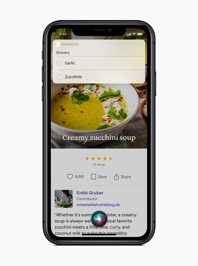 iPhone 11 Pro 的提醒事项 app 展示 Siri 重新设计的简洁体验。