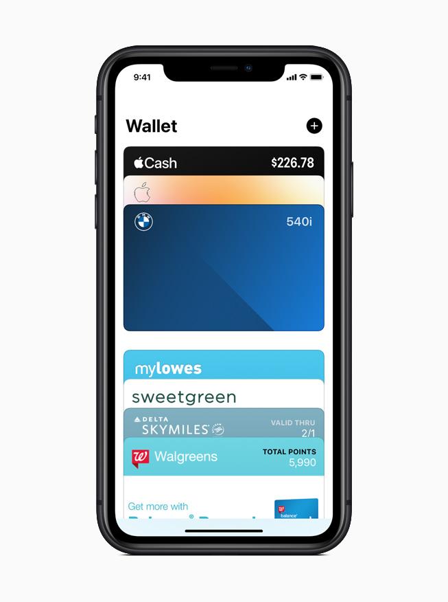 iPhone 11 Pro 上所显示的钱包 app 中的电子车钥匙。