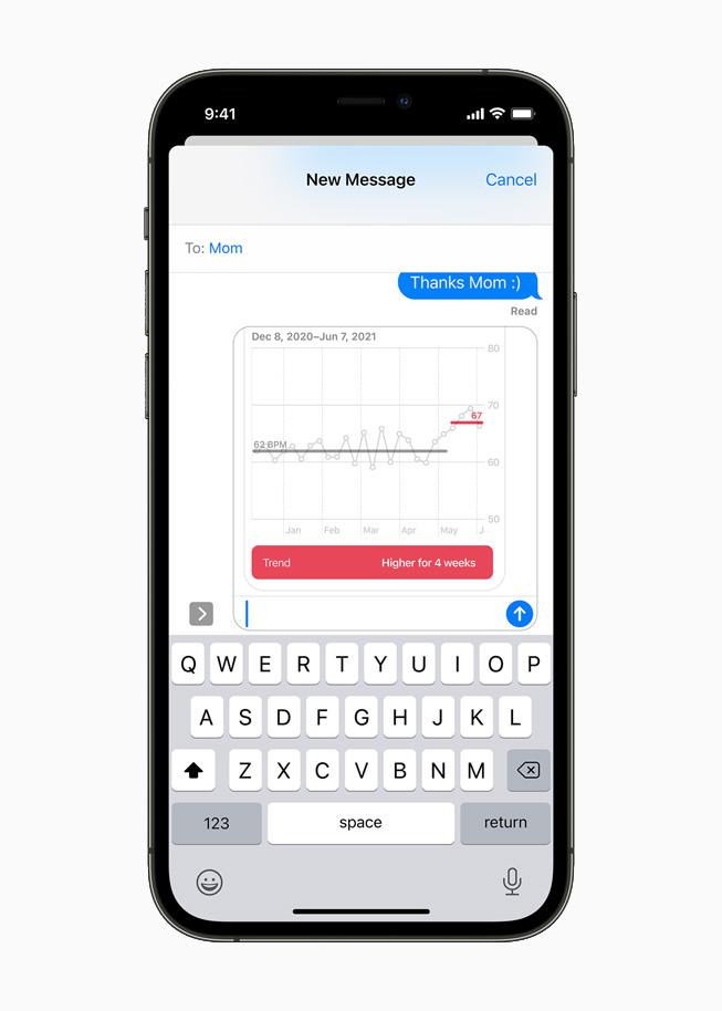 iPhone 12 Pro 上显示的通过信息 app 共享的心脏健康数据详细列表。
