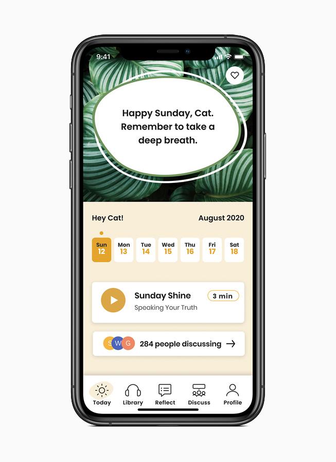 展示在 iPhone 11 Pro 上的 Shine app。