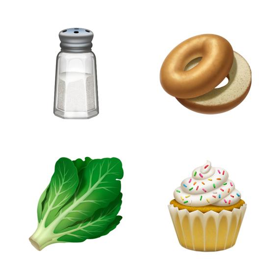 盐、百吉饼、生菜和纸杯蛋糕表情符号。