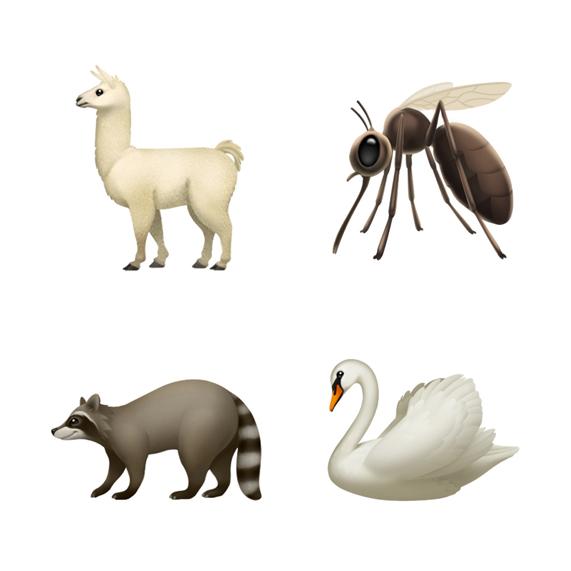 美洲驼、蚊子、浣熊和天鹅表情符号。