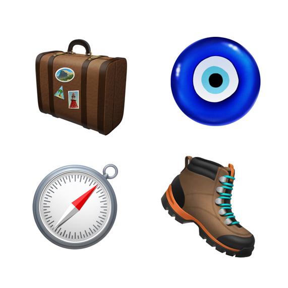 行李、徒步靴、指南针和邪恶之眼护身符。