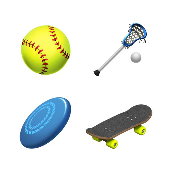 垒球、长曲棍球、飞盘和滑板表情符号。