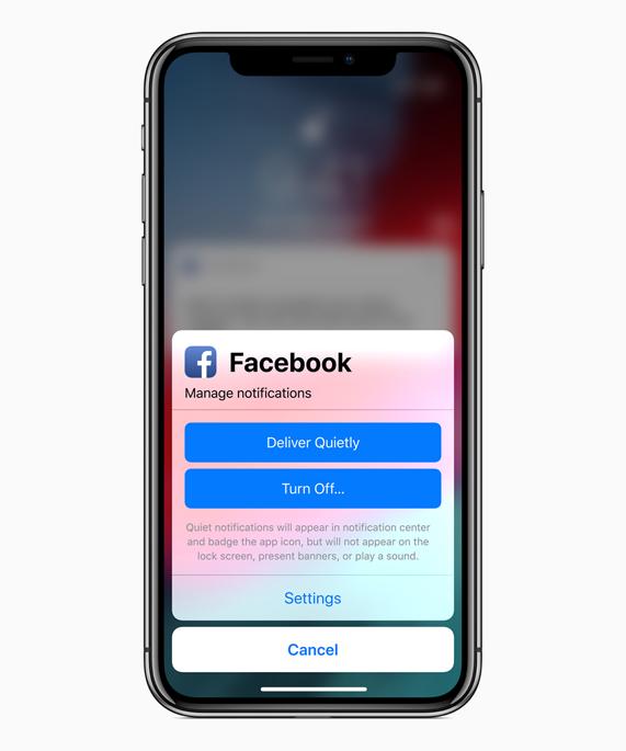 iPhone X 屏幕上显示管理通知选项。