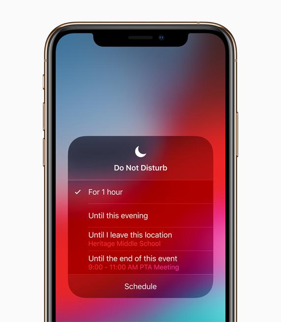 iOS 12 中的勿扰模式界面。