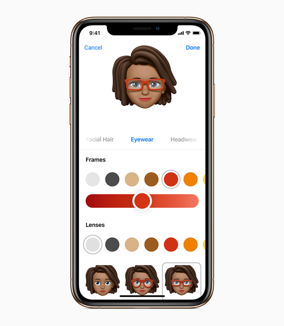iOS 12 中全新拟我表情功能的定制界面。