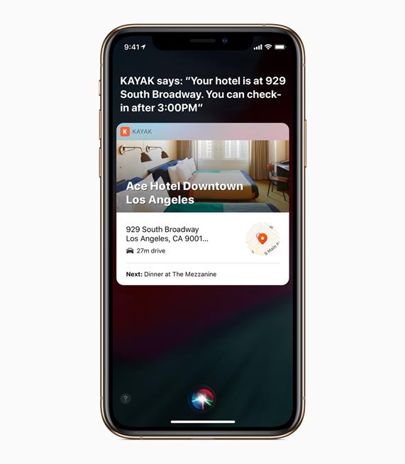 Siri 捷径界面显示近期的酒店预订资讯。