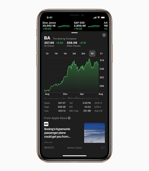 iOS 12 中全新股市 app 功能的屏幕快照。