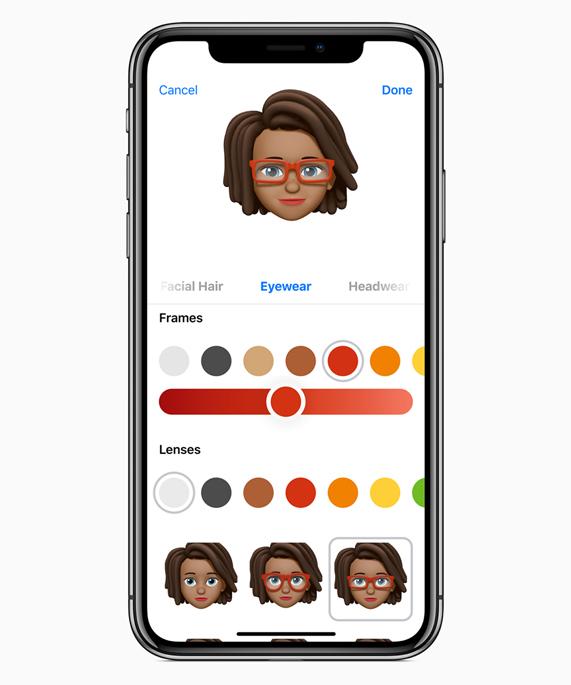 iPhone X 显示一款 Memoji 的不同眼镜选项。