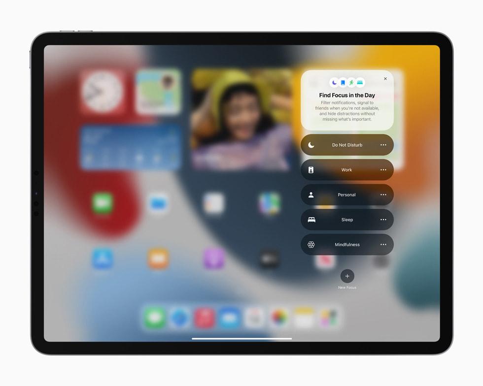 iPad Pro 上展示新增的专注功能。