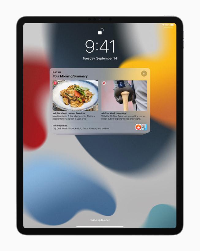 iPad Pro 中的通知摘要。
