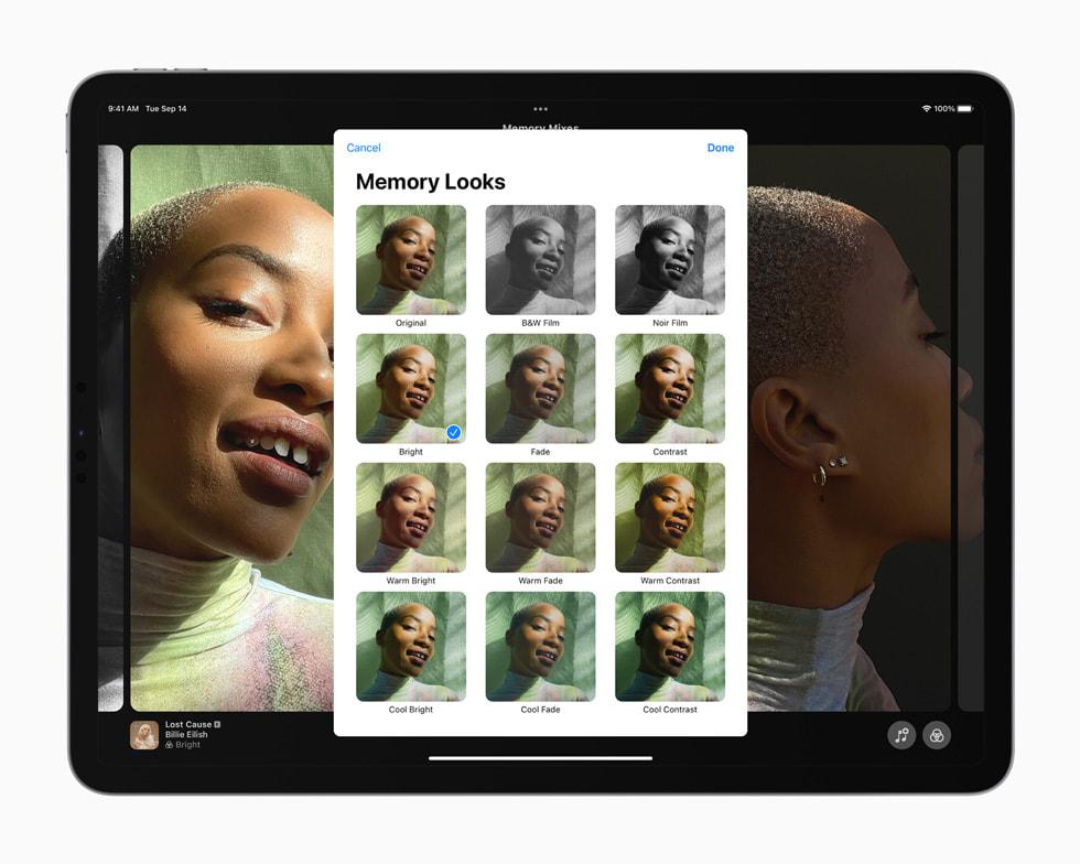 iPad Pro 上展示重新设计的回忆体验。