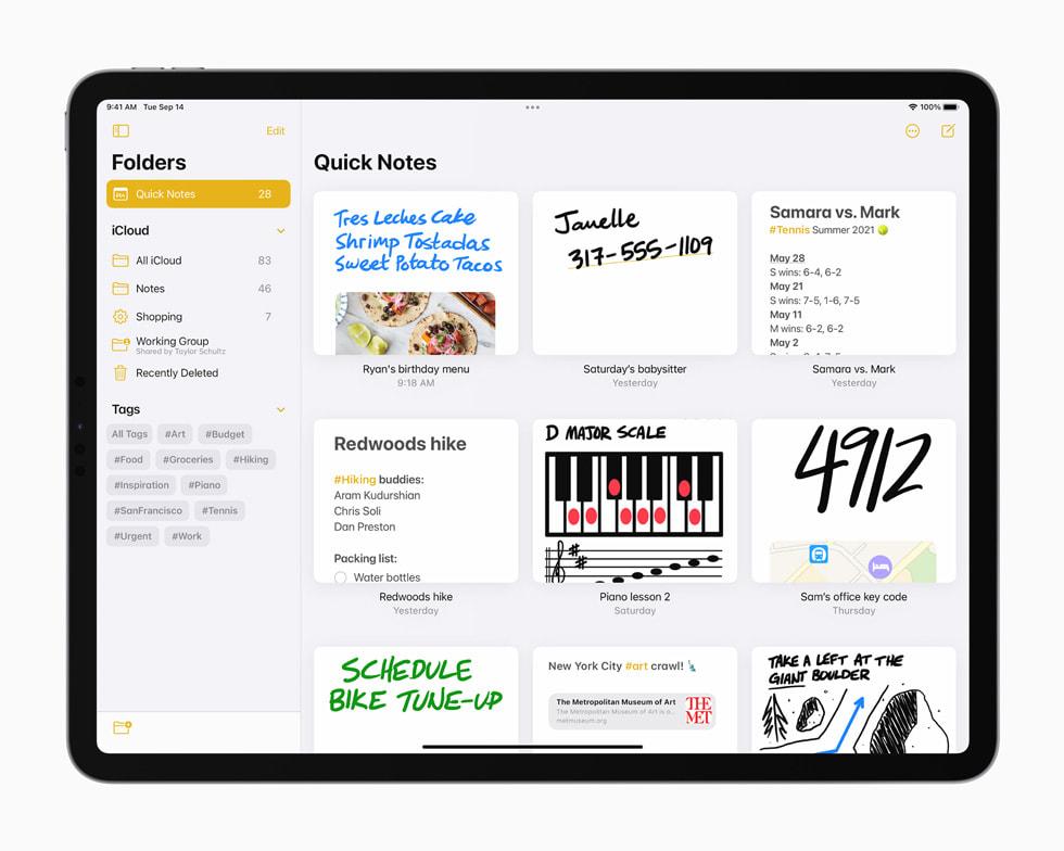 iPad Pro 上备忘录 app 中分类整理的快速备忘录。