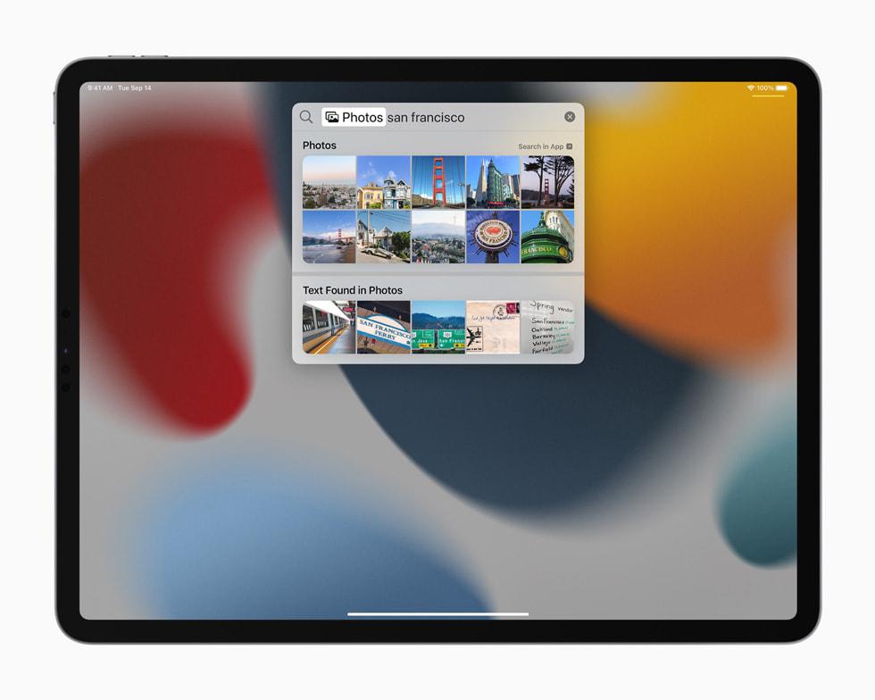 iPad Pro 上展示聚焦搜索的新搜索体验。