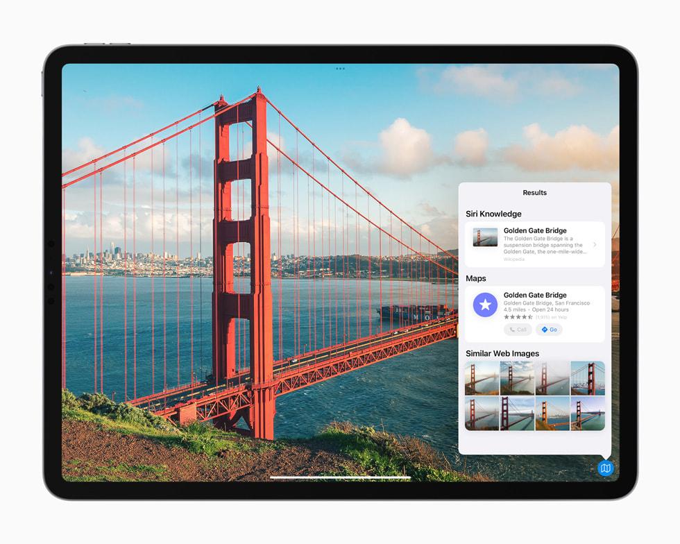 iPad Pro 上展示聚焦搜索中新增的图像查询功能。