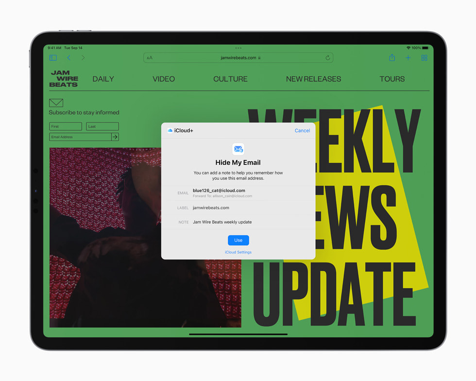 iPad Pro 上展示邮件隐私保护功能。