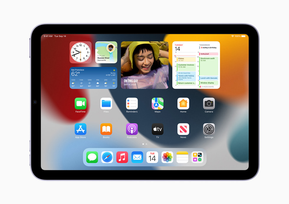 iPad mini 的全新主屏幕设计。