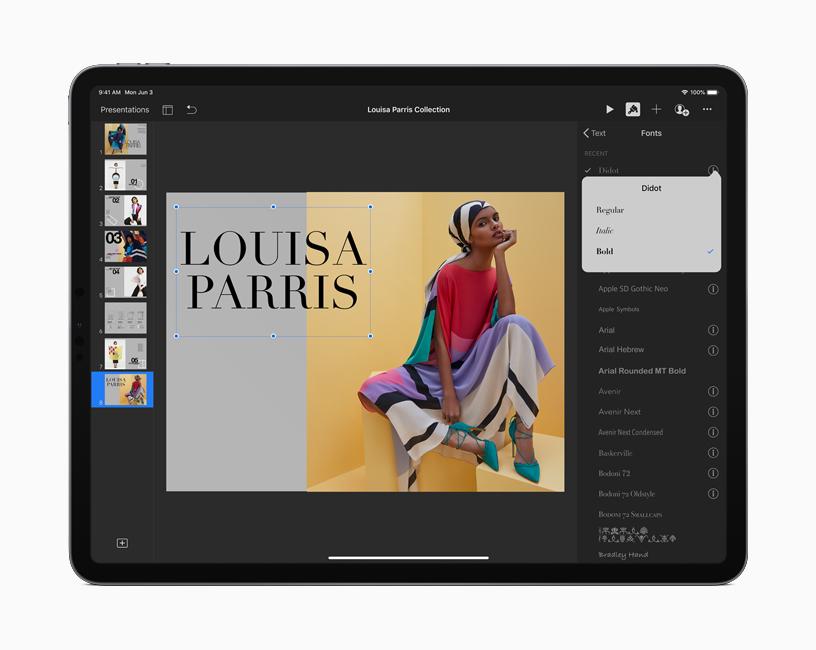iPad 上的演示文稿界面正在显示 iPadOS 中提供的可用字体。